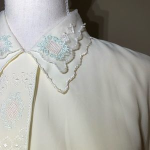 Vintage Collared Lace Detail Button Down Blouse M